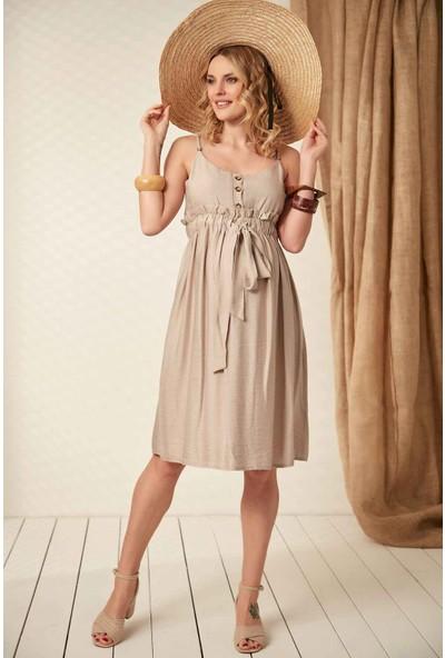 Görsin Bağcık Detaylı Askılı Bej Hamile Elbise