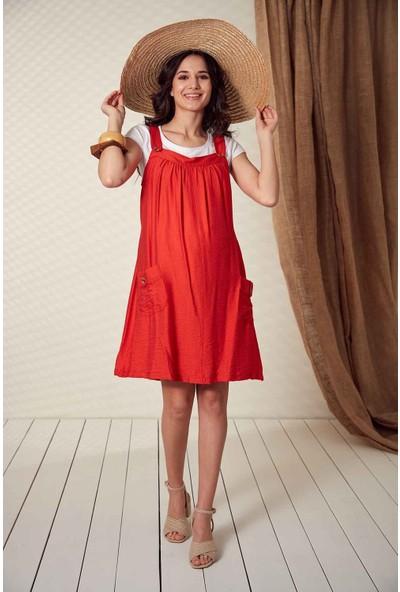 Görsin Düğme Detaylı Askılı Mercan Hamile Elbise