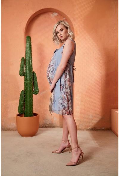 Görsin Fiyonk Detaylı Çiçekli Bebe Mavi Hamile Elbise