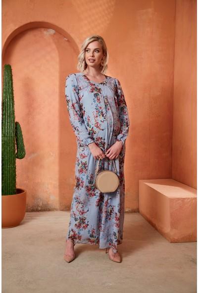 Görsin Çiçek Detaylı Uzun Hamile Mavi Elbise