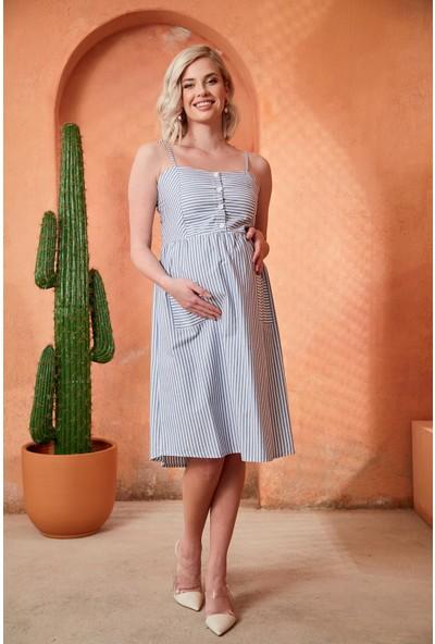 Görsin Askılı Çizgili Hamile İndigo Elbise