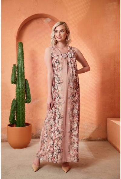 Görsin Çiçek Detaylı Pudra Hamile Elbise