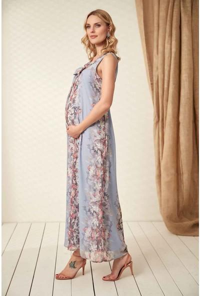 Görsin Çiçek Detaylı Bebe Mavi Hamile Elbise