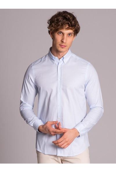 Dufy Açık Mavi Pamuklu Oxford Klasik Erkek Gömlek - Slım Fıt