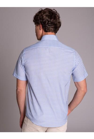 Dufy Açık Mavi Pötikare Kısa Kol Erkek Gömlek - Regular Fit
