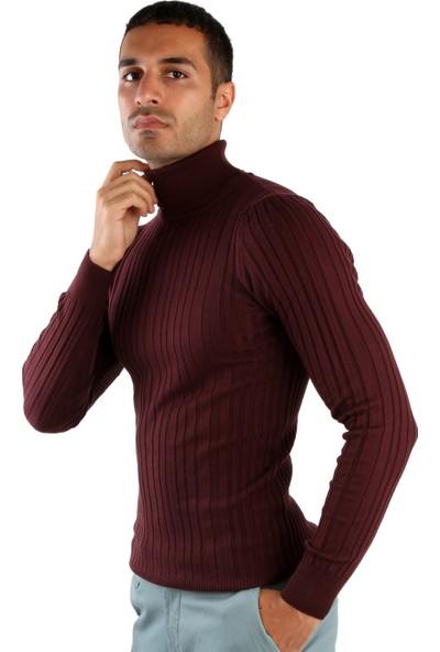 Dufy Balıkçı Yaka Bordo Erkek Triko - Slim Fit