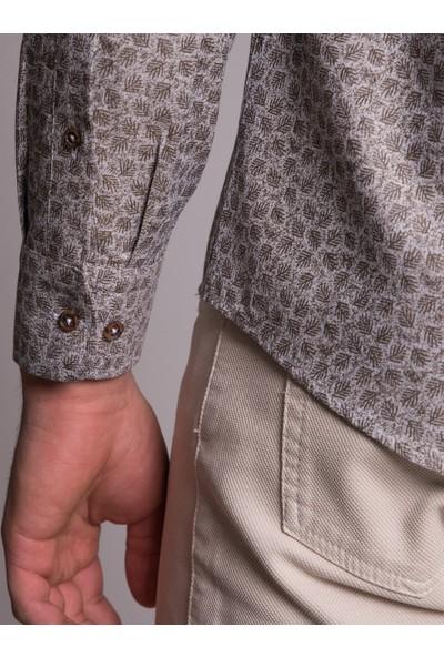 Dufy Bej Baskılı Pamuklu Erkek Gömlek - Slim Fit