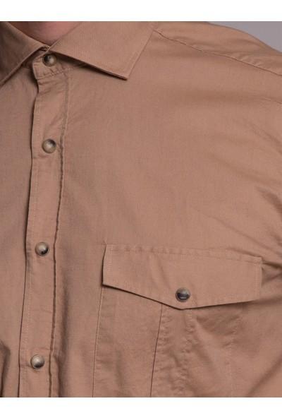 Dufy Bej Düz Erkek Gömlek - Slim Fit