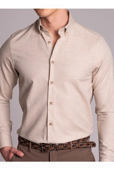 Dufy Bej Pamuk Yün Karışımlı Desenli Erkek Gömlek - Slim Fit