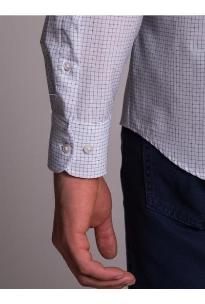 Dufy Beyaz Baskılı Erkek Gömlek - Regular Fit