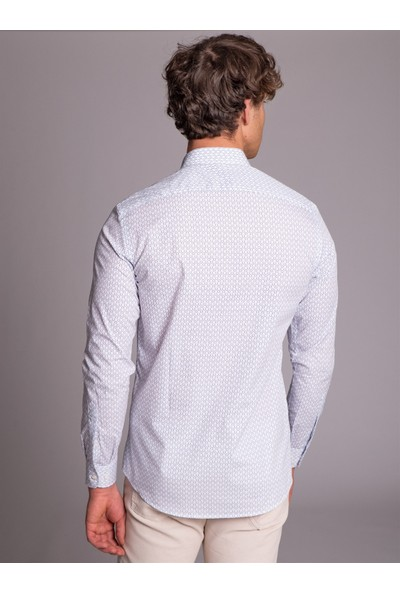 Dufy Beyaz Baskılı Pamuklu İnce Dokuma Erkek Gömlek - Slim Fit