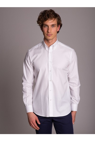 Dufy Beyaz Çizgili Balık Sırtı Klasik Erkek Gömlek - Regular Fit