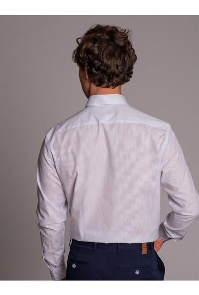 Dufy Beyaz Çizgili Erkek Gömlek - Regular Fit
