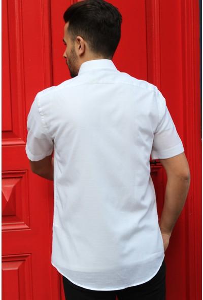 Dufy Beyaz Çizgili Kısa Kol Erkek Gömlek - Slim Fit