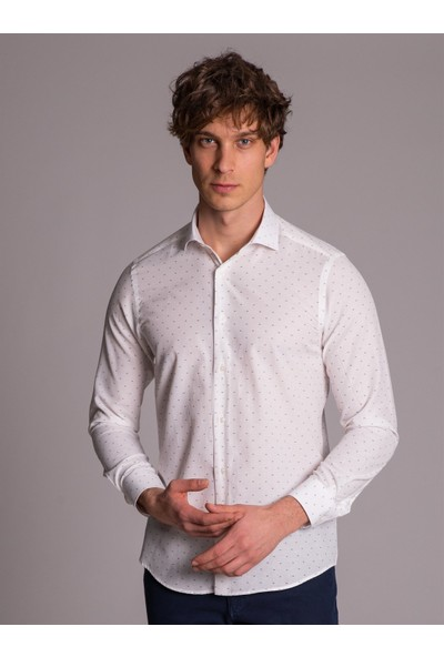 Dufy Beyaz Desenli İnce Pamuklu Erkek Gömlek - Slim Fit