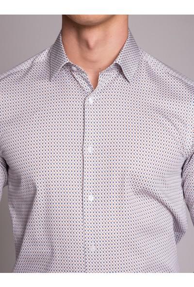 Dufy Beyaz Desenli Klasik Erkek Gömlek