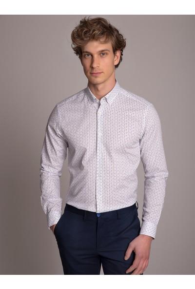 Dufy Beyaz Desenli Klasik Erkek Gömlek - Slim Fit