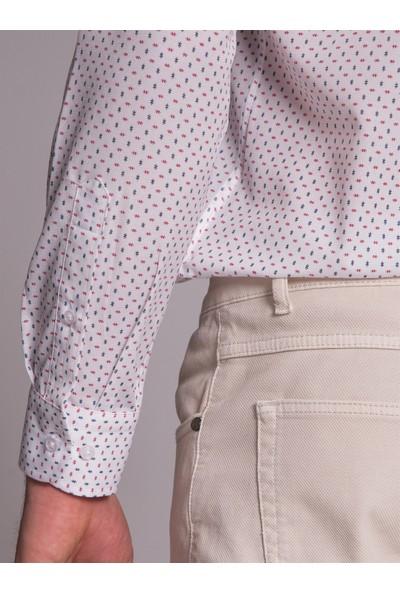 Dufy Beyaz Desenli Pamuklu Polyester Erkek Gömlek - Slim Fit