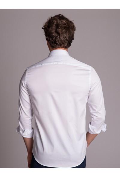 Dufy Beyaz Düz Erkek Gömlek - Slim Fit