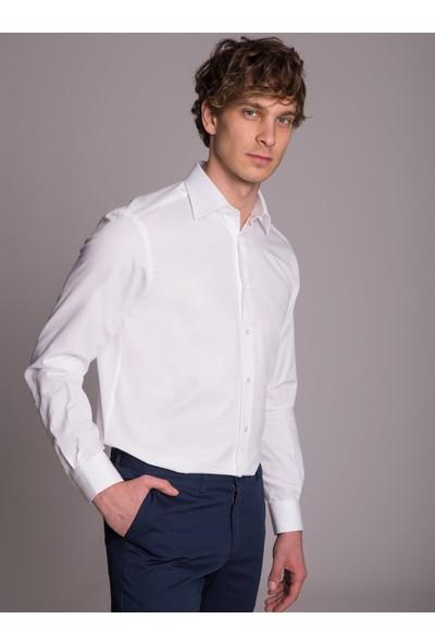 Dufy Beyaz İnce Yuvarlak Desenli Klasik Erkek Gömlek - Regular Fit