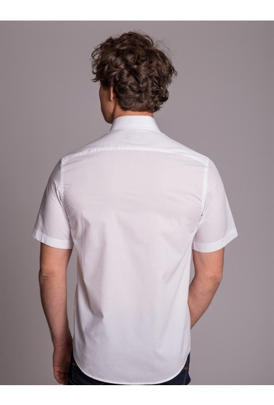 Dufy Beyaz Kısa Kol Jakar Erkek Gömlek - Regular Fit