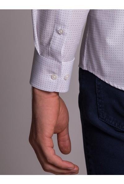 Dufy Beyaz Nokta Desenli İnce Pamuklu Erkek Gömlek - Slim Fit
