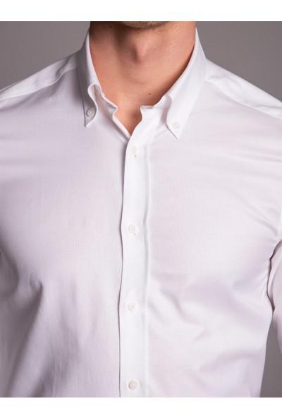 Dufy Beyaz Pamuklu Oxford Klasik Erkek Gömlek - Slim Fit