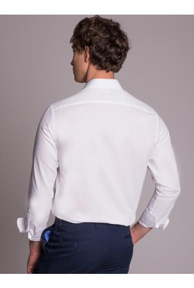 Dufy Beyaz Pamuklu Polyester Klasik Erkek Gömlek - Slim Fit