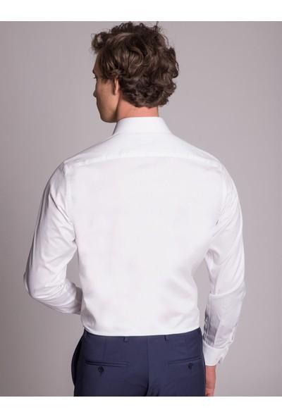 Dufy Beyaz Pamuklu Saten Klasik Erkek Gömlek - Regular Fit