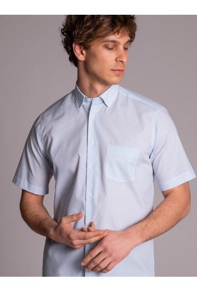 Dufy Beyaz Z.Mavi Baskı Kısa Kol Erkek Gömlek - Regular Fit