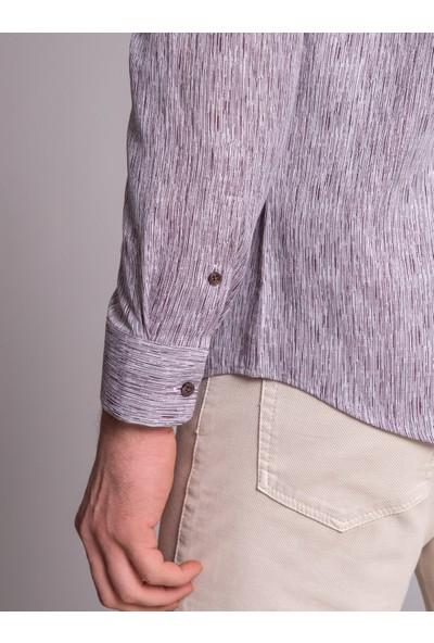 Dufy Bordo Baskı Erkek Gömlek - Slim Fit