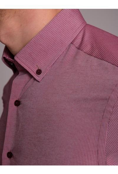 Dufy Bordo Desenli İnce Pamuklu Erkek Gömlek - Slim Fit