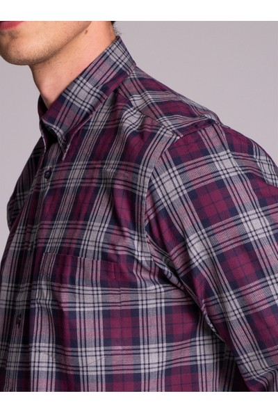 Dufy Bordo Kareli Pamuklu Erkek Gömlek - Regular Fit