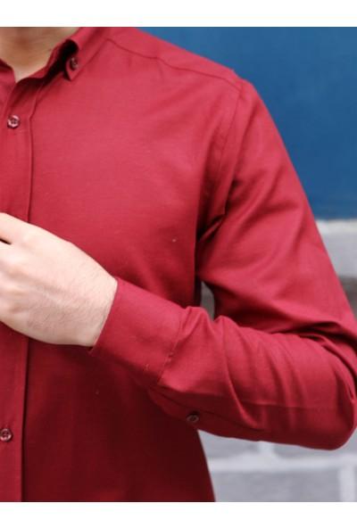 Dufy Bordo Pamuklu Klasik Erkek Gömlek - Slim Fit