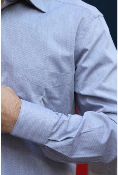 Dufy Gri Armür İnce Sık Dokuma Erkek Gömlek - Regular Fıt