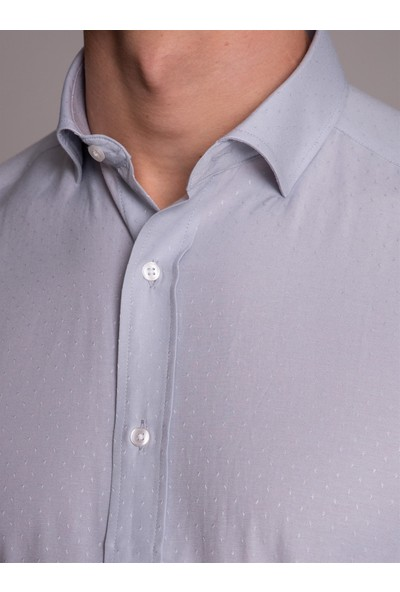 Dufy Gri Baskılı Erkek Gömlek - Regular Fit