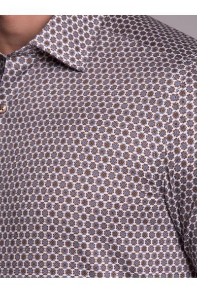 Dufy Kahve Desenli Erkek Gömlek
