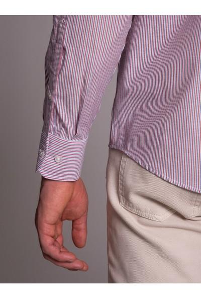 Dufy Kırmızı Çizgili Erkek Gömlek - Regular Fit