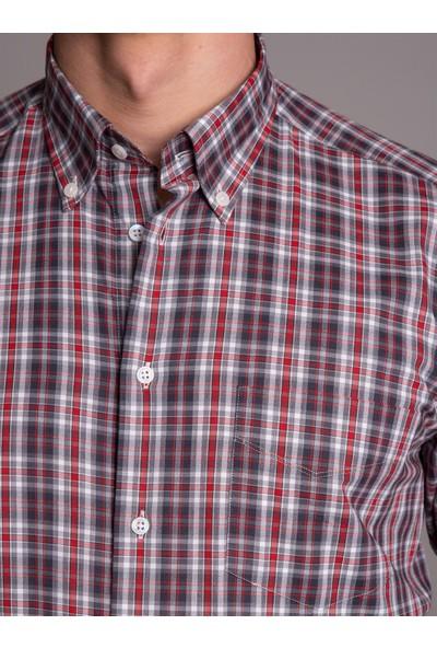 Dufy Kırmızı Ekose Erkek Gömlek - Regular Fit