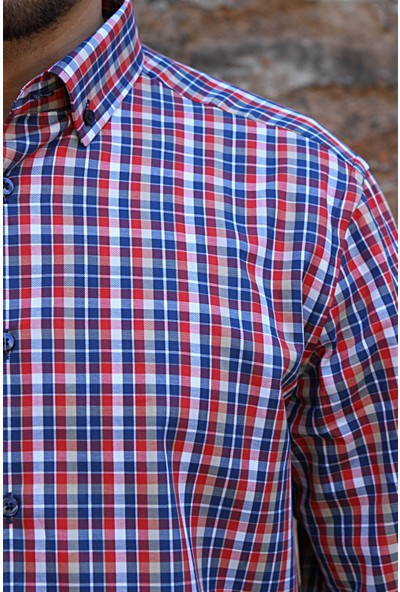 Dufy Kırmızı Kareli Erkek Gömlek - Regular Fit