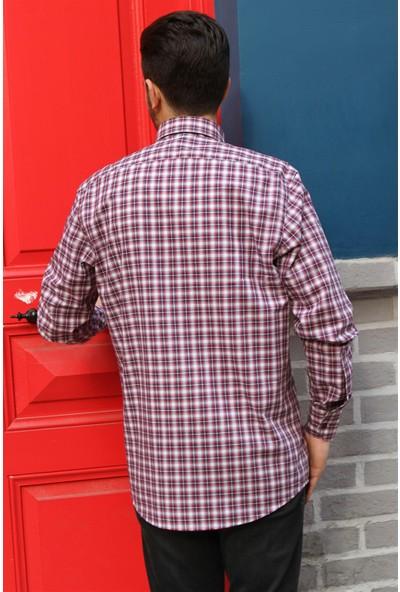 Dufy Kırmızı Kareli İnce Sık Dokuma Erkek Gömlek - Regular Fit