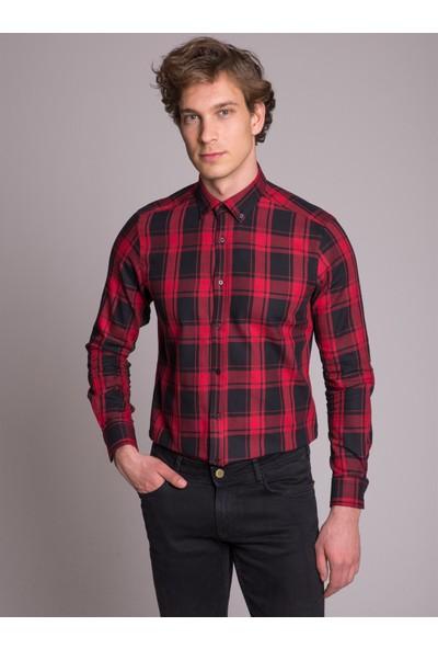 Dufy Kırmızı Kareli Pamuklu Erkek Gömlek - Slim Fit