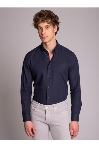 Dufy Koyu Lacivert Pamuk Yün Karışımlı Desenli Erkek Gömlek - Slim Fit