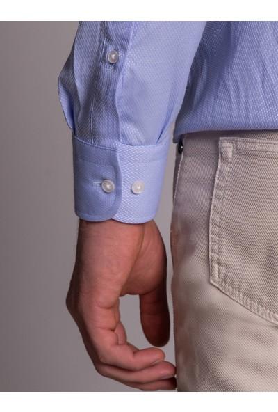 Dufy Koyu Lila Nokta Desenli Klasik Erkek Gömlek - Regular Fit