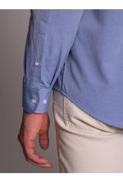 Dufy Koyu Mavi Nokta Desenli Klasik Erkek Gömlek - Regular Fit