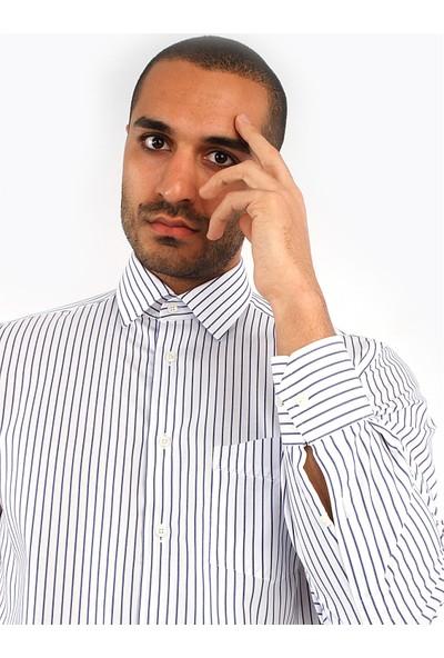 Dufy Lacivert Çizgili Oxford Erkek Gömlek - Regular Fit