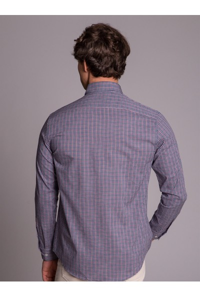 Dufy Lacivert Ekose Erkek Gömlek - Slim Fit