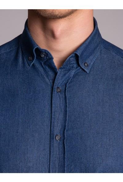 Dufy Lacivert Erkek Gömlek - Slim Fit