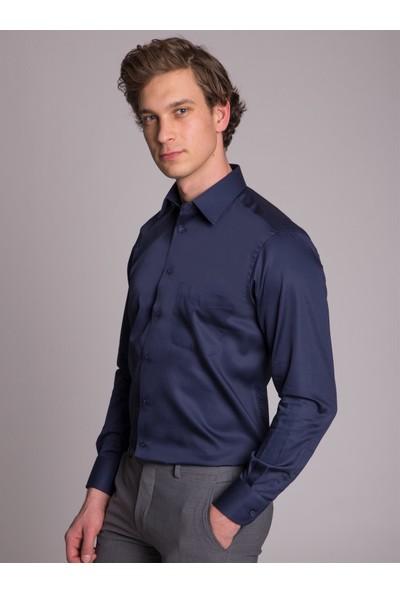 Dufy Lacivert Klasik Pamuklu Erkek Gömlek - Regular Fit