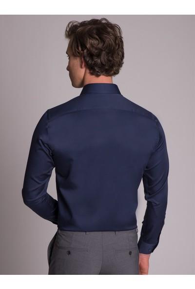 Dufy Lacivert Pamuklu İpeksi Klasik Erkek Gömlek - Ekstra Slim Fit